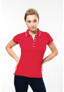 Ladies' short-sleeved piqué knit polo shirt