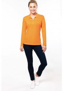 Ladies' long-sleeved piqué polo shirt