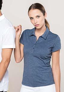 Ladies' short-sleeved melange polo shirt