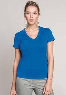 Ladies' short-sleeved V-neck T-shirt