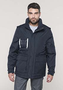 Detachable-sleeved workwear parka