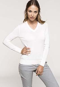 Ladies' V-neck merino wool jumper