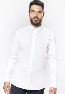 Men's long-sleeved cotton poplin shirt
