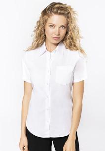 Ladies' short-sleeved cotton poplin shirt