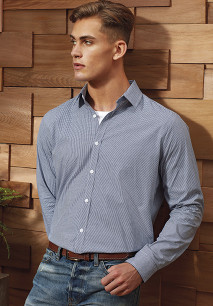 Men's long-sleeved microcheck gingham shirt