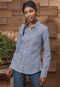 Ladies' long-sleeved microcheck gingham shirt