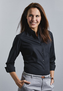 Ladies' Long-Sleeved Pure Cotton Poplin Shirt