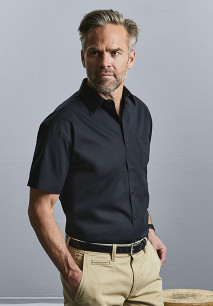 Men's Short-Sleeved Pure Cotton Poplin Shirt