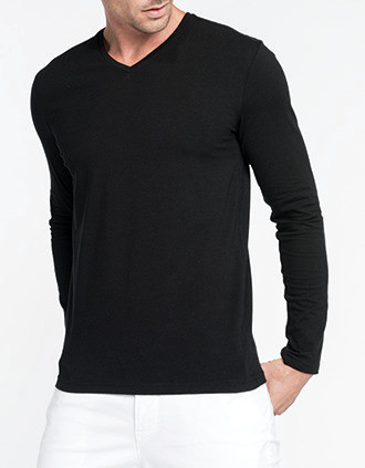 Men's long-sleeved V-neck T-shirt