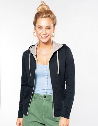 Ladies' contrast hooded full zip sweatshirt