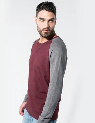 Men's two-tone organic crew neck raglan sleeve sweatshirt