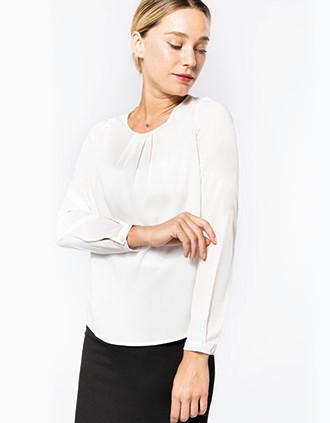 Ladies' long-sleeved crepe blouse
