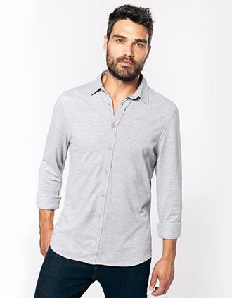 Long-sleevedpiqué knit shirt