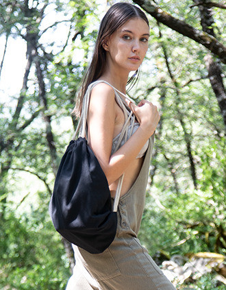 Small recycled backpack with drawstring