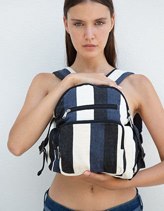 Recycled backpack - Striped pattern