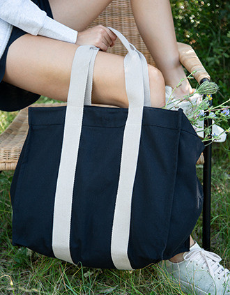 Large recycled gusseted shopping bag