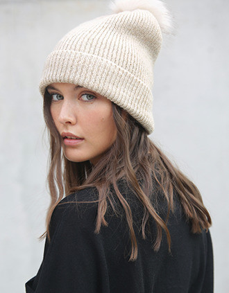 Knitted bobble beanie in recycled yarn